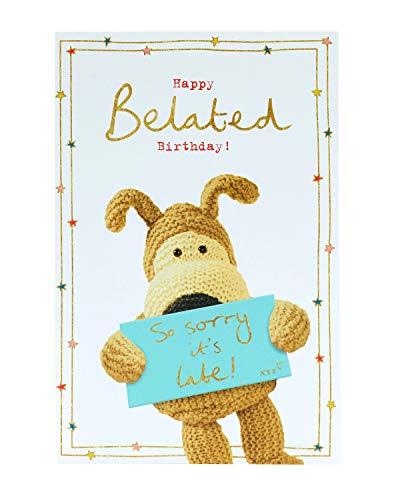 Spätgeburtstagskarte – Karte für späten Geburtstag – Geburtstagskarte für Sie – verspätete Geburtstagskarten für Frauen – süße Geburtstagskarte – Geburtstagskarte Hund – Geburtstagsgeschenk für Sie