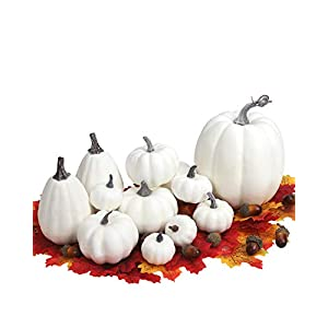 Small White Plastic Pumpkins for Decorating – 12pcs DIY Small and Large White Foam Pumpkins and Gourds Assorted Size, Added 100pcs Artificial Fall Leaves and 10pcs Acorns for Fall Decor