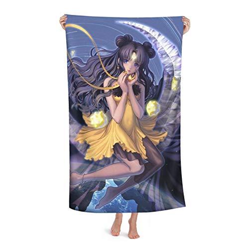 Toalla de baño de anime Girl Sailor Moon superabsorbente, suave, cómoda, de secado rápido, tela de microfibra superabsorbente, para ducha, spa, sauna, playa, gimnasio, albornoz (31 x 51 pulgadas)