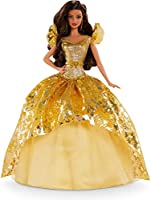 Barbie Signature 2020 Holiday Barbie Doll (12-inch Brunette Long Hair) in Golden Gown, with Doll Stand and Certificate...