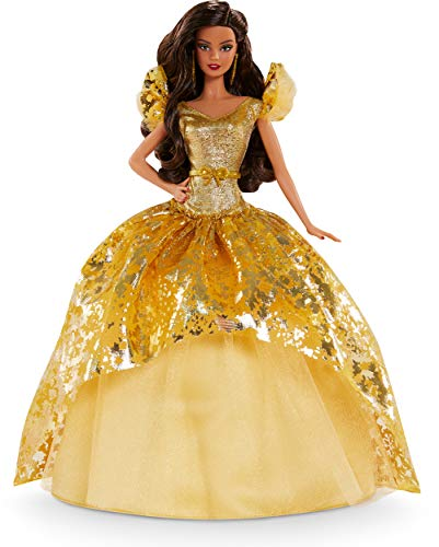 Barbie Signature 2020 Holiday Barbie Doll (12-inch Brunette Long Hair) in Golden Gown, with Doll Stand and Certificate of Authenticity, Gift for 6 Year Olds and Up