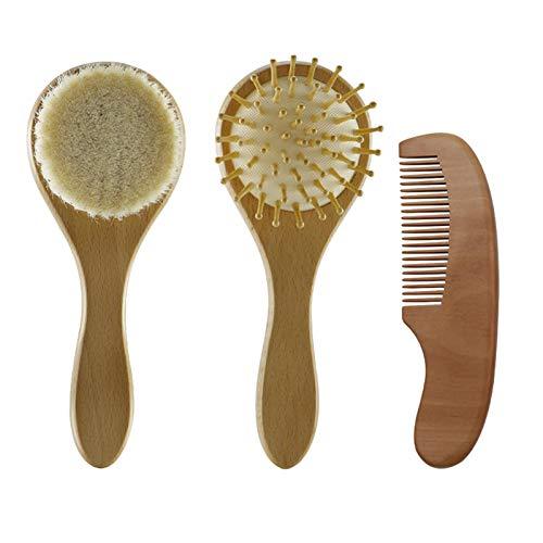 POHOVE Juego de 3 cepillos de pelo de bebé y peine de madera, masajeador de cabeza para recién nacidos, niños pequeños, niños   cerdas suaves naturales cepillo de pelo de cabra