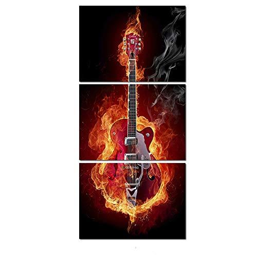 WSNDGWS Triple instrument gitaar inkjet decoratieve schilderij kunstenaar slaapkamer decoratie schilderij zonder fotolijst 50x70cmx3 K3