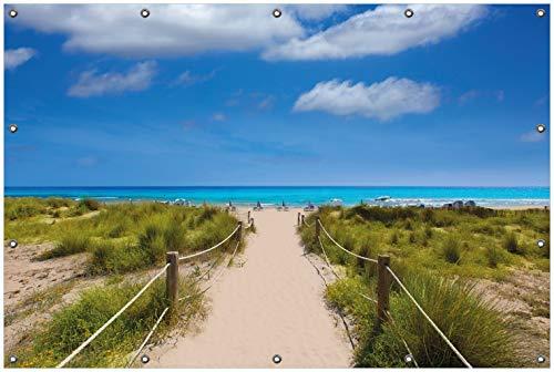 Wallario Garten-Poster Outdoor-Poster, Sandweg zum blauen Meer mit blauem Himmel in Premiumqualität, für den Außeneinsatz geeignet
