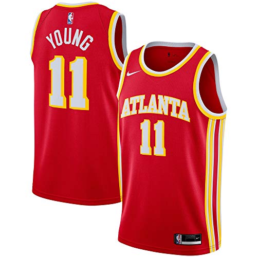 Nike Trae Young Atlanta Hawks NBA Boys Youth 8-20 Red Icon Edition Swingman Jersey (Youth Large 14-16)