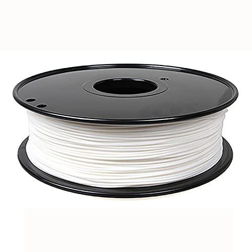 By Filamento de impresión 3D de nailon premium de 1,75 mm, precisión dimensional +/-0,03 mm, 1 kg 1 carrete, material PA de alta tenacidad (color: blanco)