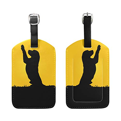 Luggage Tags, Labrador Dog Printed 2 Pack PU Case Suitcase ID Tag Labels Travel Bag Baggage