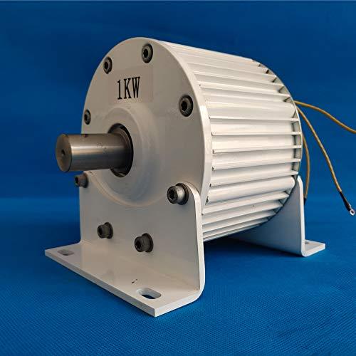 Generador de imán permanente sin engranajes de baja velocidad 1000 W 500 RPM 24 V 48 V 3 fases 1 KW alternador de CA turbina de agua de viento (24 V sin base, eje directo)