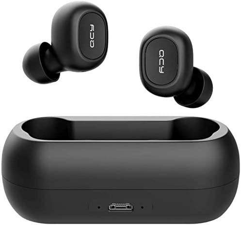 QCY T1C True Wireless Bluetooth Earbuds, in-Ear Stereo Bluetooth Headphones, Wireless Charging Case, Total 20 Hrs Pla...