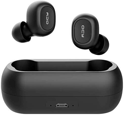 QCY-T1 TWS - Auriculares Deportivos con Bluetooth 5.0, inalámbricos, más de 20 Horas de duración de la batería con Cargador, IPX4 Resistente al Agua y micrófono Dual HD Integrado (Negro), 1