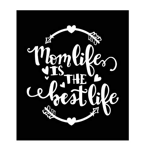 Mom Life is The Best Life Vinyl Decal   White   Made in USA by Foxtail Decals   for Car Windows, Tablets, Laptops, Water Bottles, etc.   4.4 x 4.75 inch