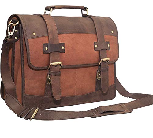 16 Inch Vintage Handmade Leather Messenger Bag for Laptop Briefcase Best Computer Satchel Vintage Leather Bag Leather Dual Compartment Flapover 15.6-inch Laptop Business Portfolio…