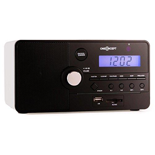 oneConcept Luzern - Radio, Radiowecker, UKW-Radio, Mediaplayer, SD, USB, AUX, Sleep-Timer, Snooze, 30 Senderspeicherplätze, integrierter Lautsprecher, inkl. Fernbedienung, weiß-schwarz