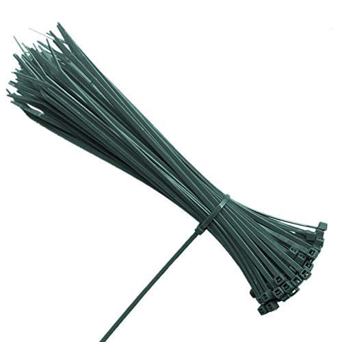 KINGLAKE 100 Pcs 8 Inch 3mm Dark Green Nylon Garden Cable Zip Ties Self Locking Cable Ties Twist Ties