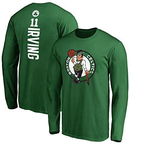 XSSC # 11 Boston Celtics Kyrie Irving Herren Basketball Trikot Langarm Pullover Trainingsbekleidung Bedrucktes T-Shirt Sweatshirt Jacke schwarz 1Uniform Kleidung Green-XL