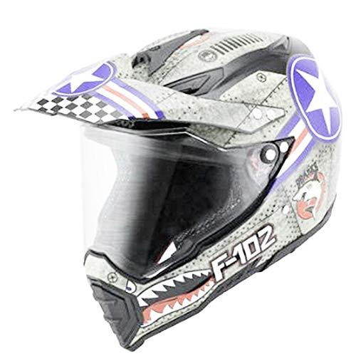 ZYTGTB Bluetooth Motocross Cascos Intercomunicador Auriculares Moto BT Altavoces Auriculares binaurales Moto Casco,Blanco-SDU,S
