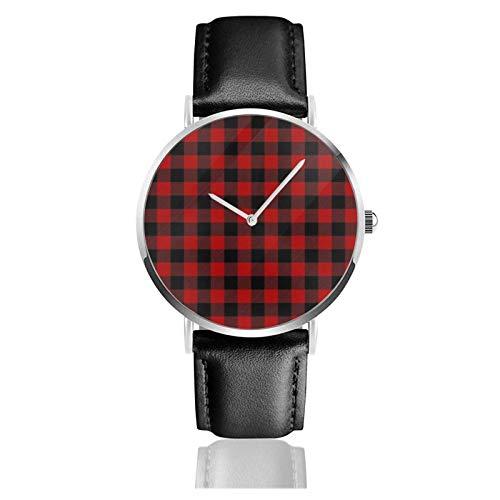Rote und schwarze karierte Uhr Quarzwerk Wasserdichtes Lederarmband für Männer Frauen Einfache Business Casual Uhr
