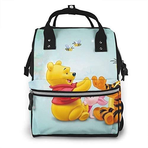 Sac à Dos Sac à Langer - Tigger Piglet et Winnie l'ourson Multifonctionnel étanche Sac à Dos de Voyage maternité bébé Nappe Sacs à Langer