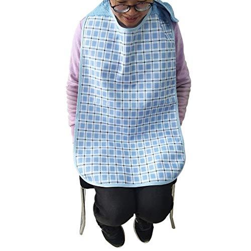 Koly bavaglino per anziani, impermeabile, da usare durante i pasti, grembiule di protezione (Blu)