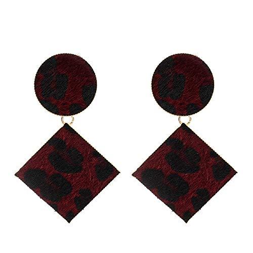 Europa y los Estados Unidos exageraron los pendientes geométricos de múltiples capas de leopardo pendientes de otoño de moda para mujer pendientes vino rojo