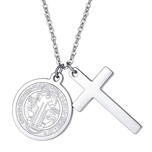 FaithHeart San Benito de Nursia Medallones Redondos con Cruz Colgante de Acero Inoxidable para Mujer y Hombre Chapado en Oro Dorado/Plateado/Negro