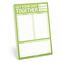 Get your shit together with this fun cool notepad. Write it and tackle it.