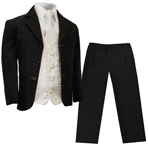 Paul Malone - Jungenanzug/Kinderanzug festlich schwarz Uni + Ivory Hochzeit Weste + Krawatte 2