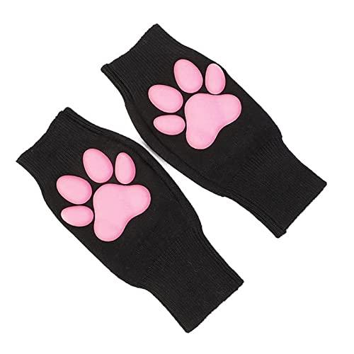 Lindas guantes de pata de gato kawaii gato cosplay, guantes de pata de gato, gato de halloween accesorios de cosplay, gato rosado, pata, guantes sin dedos largos para mujeres, gato lindo,Black gloves