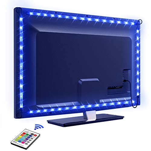 LED TV Retroilluminazione, OMERIL 2.2M Retroilluminazione TV LED USB alimentata con Telecomando e 16 Colori e 4 Modalità, Striscia Luminosa a LED RGB 5050 per HDTV da 40-60 Pollici, PC Monitor