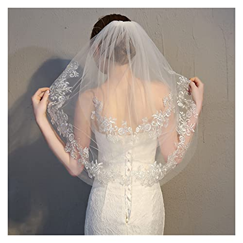 Velo de novia con purpurina de alambre de plata con encaje floral de 2 niveles, velo de malla nupcial con peine velo de novia (color marfil)