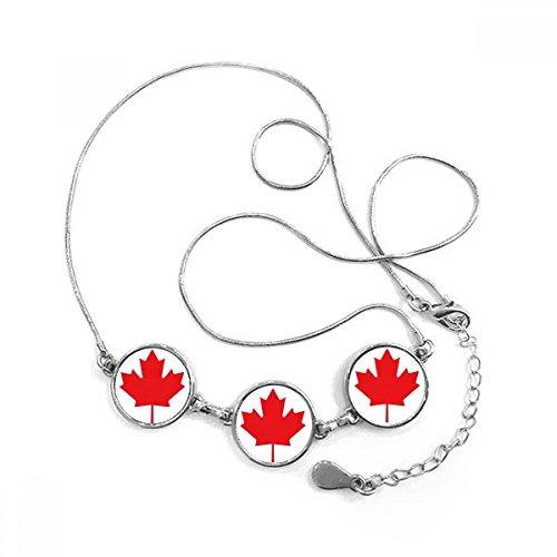 DIYthinker Rot Ahornblatt Kanada Land Kultur Symbol Runde Form Anhänger Halskette Schmuck mit Kette Dekoration Geschenk