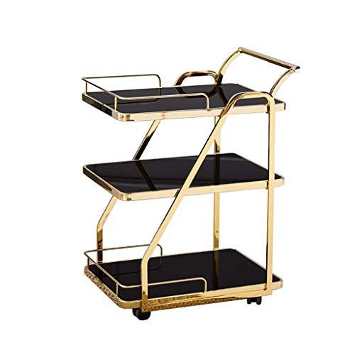 KANJJ-YU Carro de servicio de cocina de hierro forjado para casa móvil de 3 pisos con soporte para carrito de vino (dorado, 450 x 630 x 840 mm)