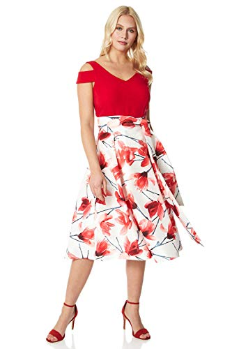 Roman Originals Women Floral Print Cold Shoulder Midi Dress - Ladies Special Occasion Wedding Guest Princess Flower Printed Belted Flared Midi Dresses - Red - Size 10