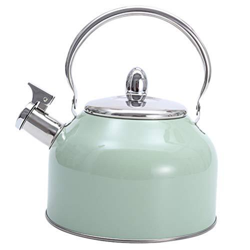 Yardwe Bollitore per tè in Acciaio Inossidabile con Fischietto Teiera Piano Cottura Manico Anti-Caldo E Fischio Forte Bollitore per tè Domestico 2. 5L Verde