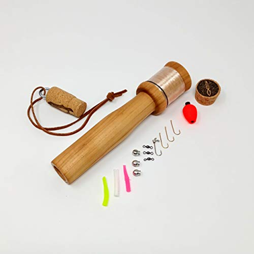 Daggerfish Portable Fishing Kit - Includes Hand Reel, Line, Tackle Kit, and Storage - Lightweight, Packable - Handcrafted in USA