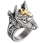 PAURO Anillo para Homre Acero Inoxidable Antiguo Dios Egipcio Anubis Amuleto Lobo Cabeza con Oro Ankh Cruz Tamaño 12