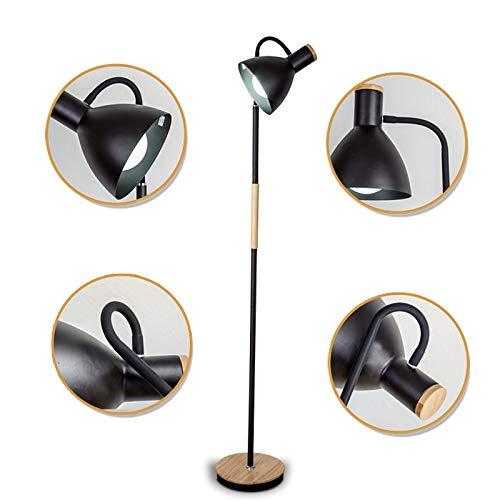 DSM Massivholz Stehleuchte LED Simple Wohnzimmer Schlafzimmer Nachttisch Hotel Studie Vertikale Lampe 160cm (Color : Black)