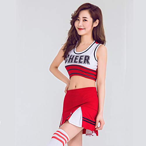 ZQ Sexy High School Cheerleader Kostüm jubeln Mädchen Uniform Party Outfit Frauen Kostüm,Red,M