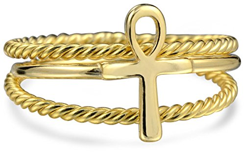 2 Stapelbare Minimalistischen 14K Vergoldet Sterling Silber Ägyptische Ankh Kreuz Stapelring 1MM Band Inset Kabel-Band