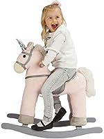 ROCK MY BABY Schaukelpferd Einhorn, Schaukelpferd Holz, Spielzeug Schaukelpferd Rosa Einhorn, Schaukeltier Rosa, Schaukelpferd Plüsch, Schaukelpferd für Kinder Ab 3 Jahren