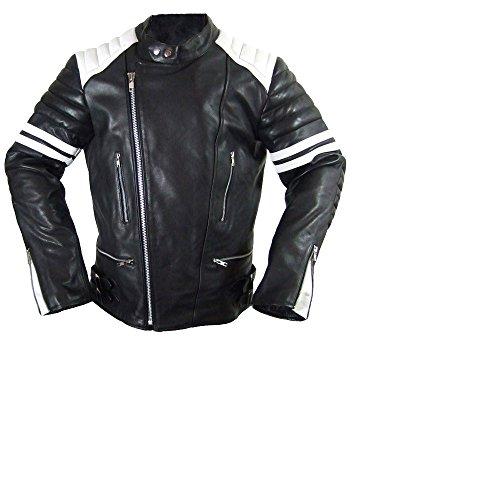 Hard Leather Oldschool Retro Lederjacke, Farbe: Schwarz/Weiß, Größe: M