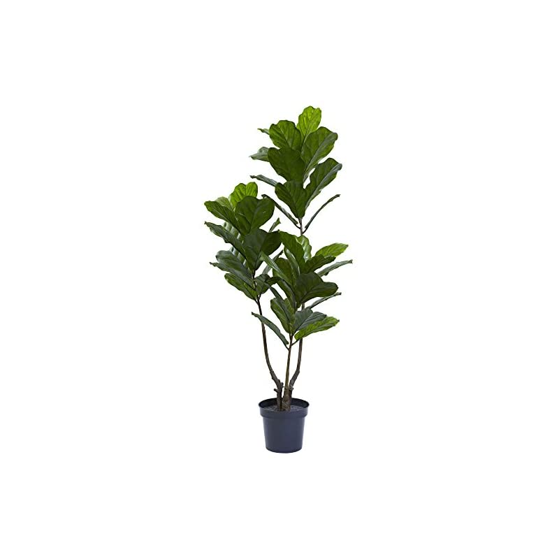 """silk flower arrangements nearly natural 65in. fiddle leaf uv resistant (indoor/outdoor) artificial tree, 65"""", green"""
