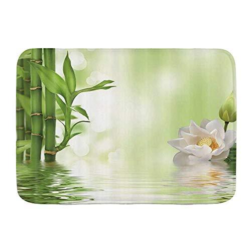 QIUTIANXIU Alfombra De Baño Cocina Mascota Alfombrilla,SPA Lotus Blooming White Lotus Flower Verde Bamboo,De Baño Antideslizante,Microfibra Suave Cómoda Y Absorbente