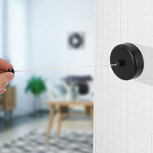 Corde de séchage des vêtements télescopique rétractable linge anti-rouille ménage pour économiser de lespace pour le balcon(black)