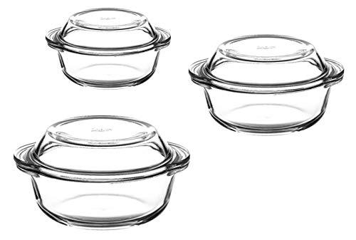 3er Set Glas Auflaufform rund mit Deckel Bräter Schüssel Schale Glasschale 6tlg