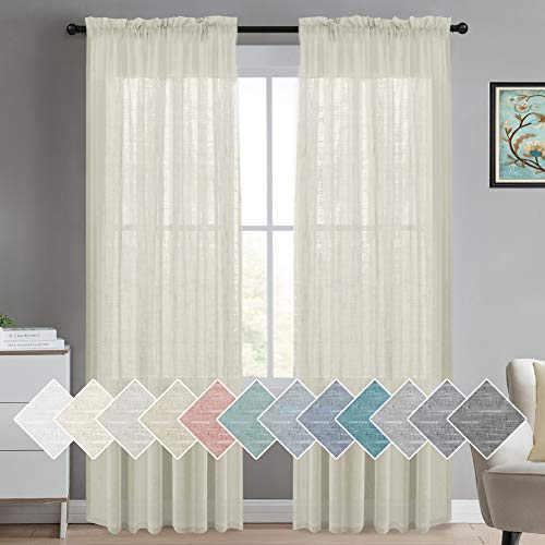 Turquoize Linen Sheer Curtains Natural Linen Semi Sheer Curtains Light Filtering Burlap Curtains Rod Pocket Window Treatments Panels/Drapes, Privacy Assured, 84 Inches Length (2 Panels, Ivory)