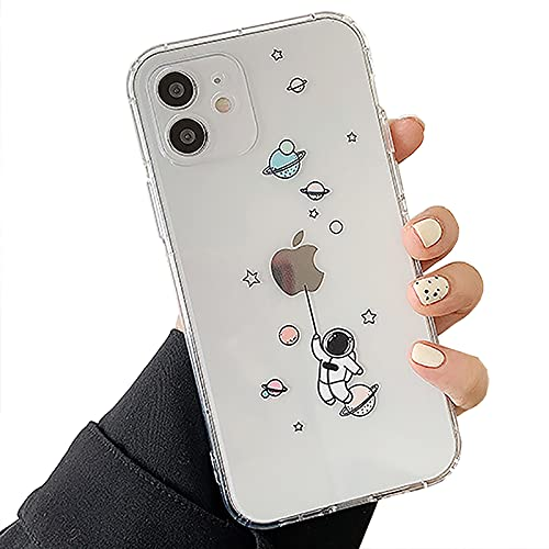 Nititop Compatible with iPhone 12 / iPhone 12 Pro Case Clear Cute with Astronaut Outer Space Planet Star Cartoon Creative Pattern,for Girls Boys Soft TPU Shockproof Slim for iPhone 12/12 Pro-Balloon