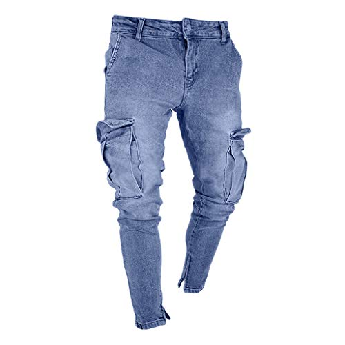 Xiangdanful Herren Jeanshose, Herren Strech Destroyed Slim Fit Denim Jeans Hose,Männer Freizeithosen Streetwear,Skinny Tapered Herrenhose,Jungen Zerrissen Denim Clubwear (M, C-Grau)