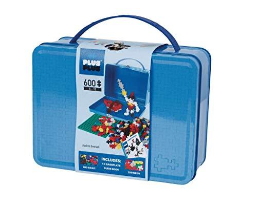 Plus-Plus 9607002 Geniales Konstruktionsspielzeug, Basic, Bausteine-Set in praktischer Metall-Box mit Henkel, 600 Teile, bunt