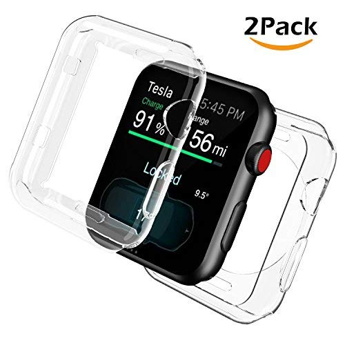 [2 Pack] Uxinuo for Apple Watch Screen Protector, All-Around TPU Compatible with Apple Watch Case iWatch Protective Cover Bumper for Apple Watch Series 3, Series 2 38mm [2 Pack]